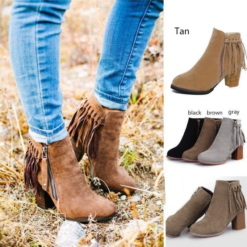 5T Mujeres Calientes Botas Borla de Moda Tacón Grueso Botines de Cuero de Gamuza Vintage Zapatos Casuales Tamaño Eu 35-40