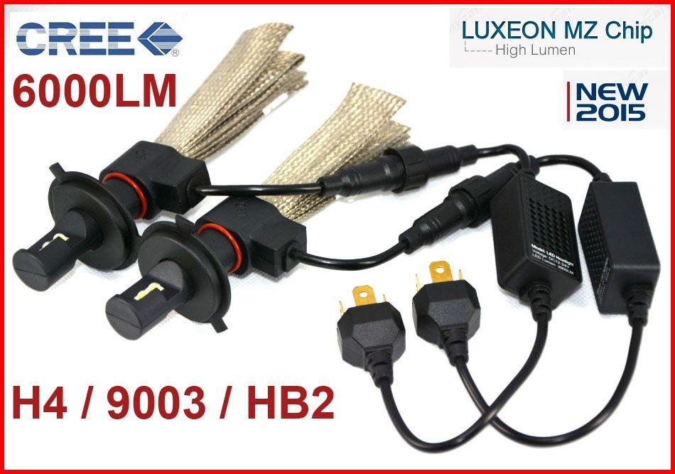 1 Conjunto H4 9003 HB2 40 W 6000LM CREE LED Farol LUXEON MZ CHIP Alto / Baixo Feixe de Xenon Branco 6500 K 12/24 V Cinto De Cobre H13 9004/9007 Kit LEVOU