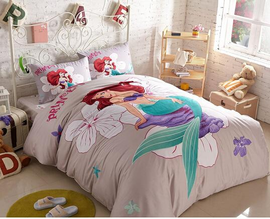 4pcs The Little Mermaid Duvet Cover Set Queen Size 2 Pillow Case 1 Flat  Sheet For