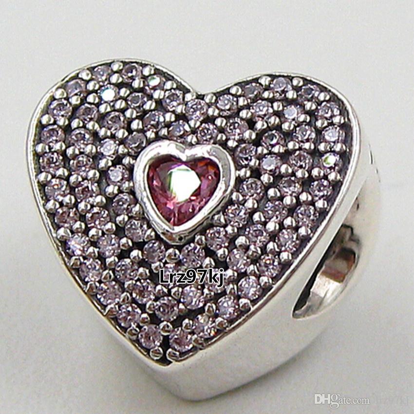Стерлингового серебра 925 милая Шарм шарик с розовый Cz подходит Европейский Pandora ювелирные изделия браслеты ожерелья подвески