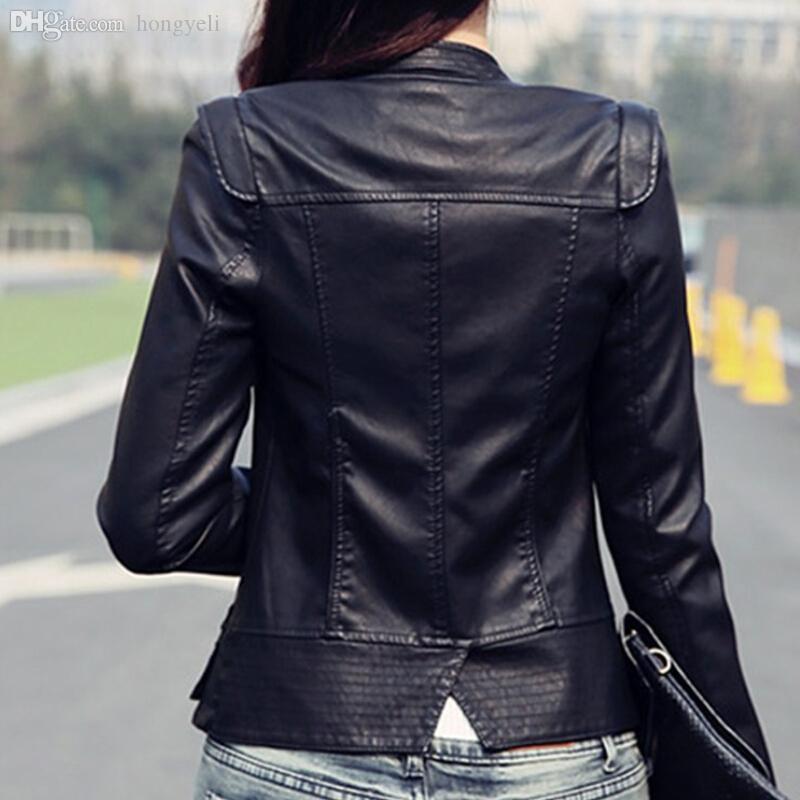 Wholesale-Korean Black/Wine Red Autumn Leather Jacket Women Brand Faux Soft Leather Jackets PU Zippers Coats Long Sleeve Motorcycle Coat
