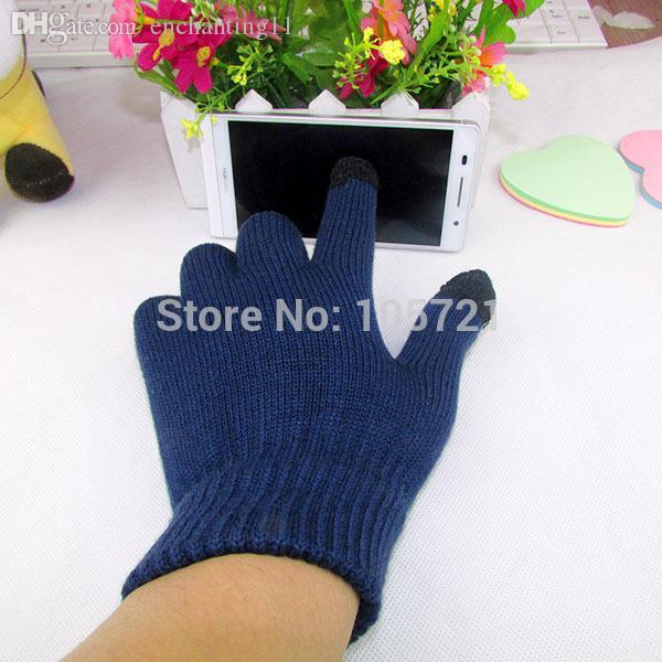 Guanti invernali solidi per dito pieno da uomo all'ingrosso-Candy Color Touch Screen