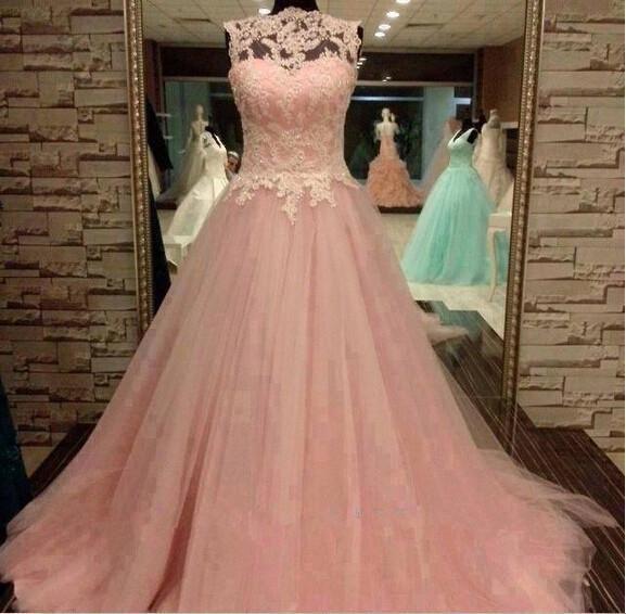2019 저렴한 Quinceanera 드레스 얇은 뚜껑 슬리브 Bateau 핑크 얇은 명주 그물 툴 레이스 아플리케 비즈 vestidos de prom dress