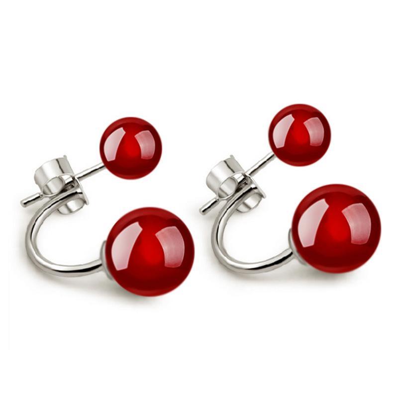 Koreaanse vrouwen sieraden glanzende 30% 925 Sterling zilveren oorbellen natuursteen dubbele bal parel agaat oorknopjes