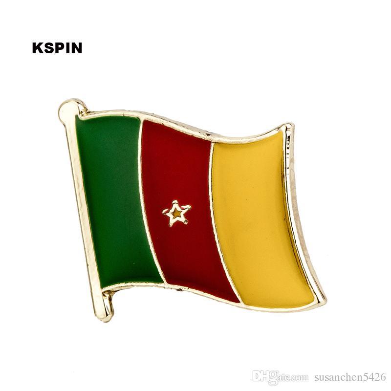 Spedizione gratuita il Camerun Metal Flag Badge Flag Pin KS-0089