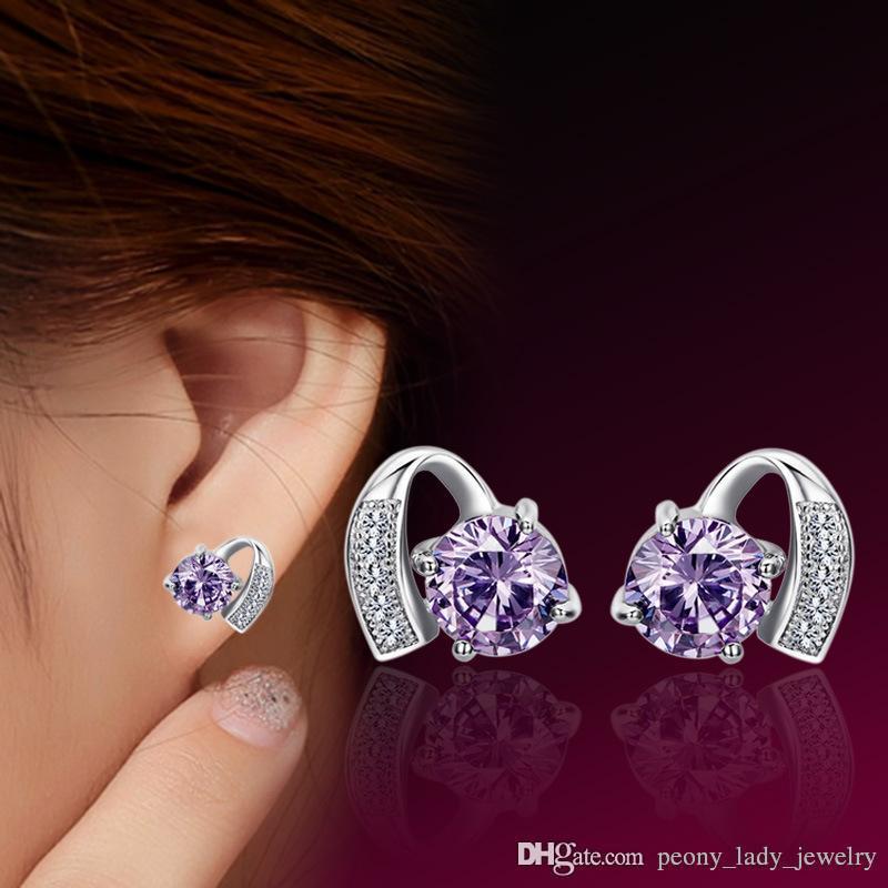 Heiße romantische exquisite kristallklare Diamante Halbmond Herz Ohrringe 925 Sterling Silber Schmuck