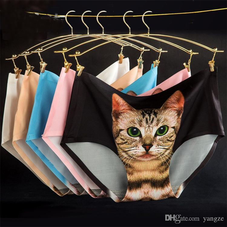 Hot Sexy Women's Underwear With Cute Kattunge Katt Kitty Preven Bottom-Baring Privat Safe Pants One Site Fit XS S M F130 2PCS