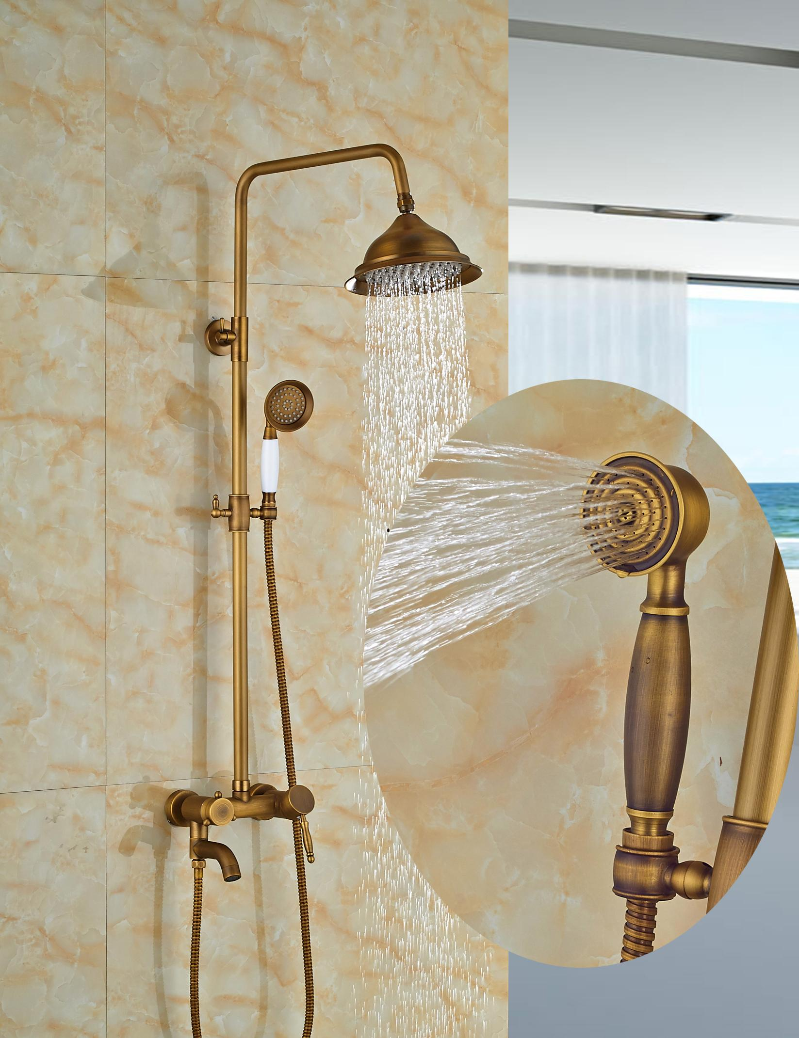 2019 Wholesale And Retail Antique Brass Bell Style Rain Shower Faucet Set Tub Spout Mixer Tap W Hand Shower Wall Mounted Shower From Gonglangno1