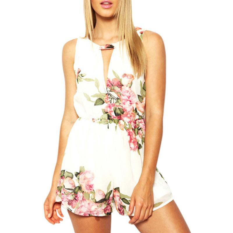 Vente en gros-Mode Femmes Open Back Mousseline Floral Shorts Sans Manches Femme Combinaisons