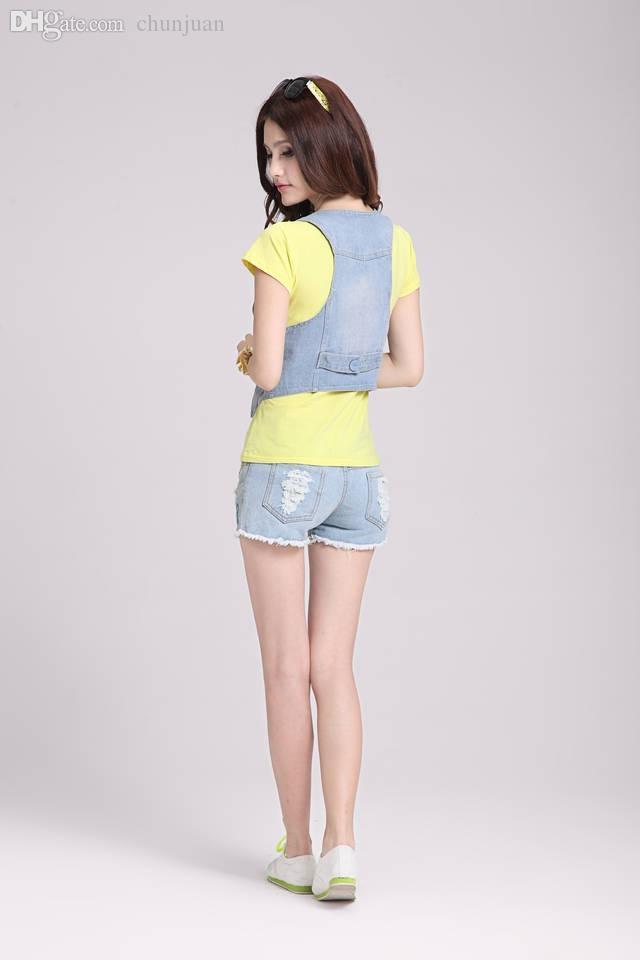 Venta al por mayor-2015 mujeres hebilla chaleco corto de mezclilla moda simple chaqueta pequeña chalecos de mezclilla verano estilo femenino Gilet Colete Feminino JY-647