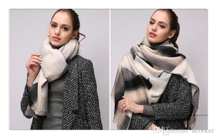 2016 HEIßER Unisex Herbst Winter Weiche Lange Wolle Hals Großen Schal Wrap Schal 2 farben passender Scarve Pashmina für Weihnachten Freunde Geschenke