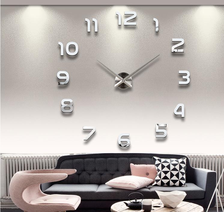 이십인치 DIY 3D 미러 번호 아크릴 스티커 벽 시계 (임의의 색)은 0,201,002