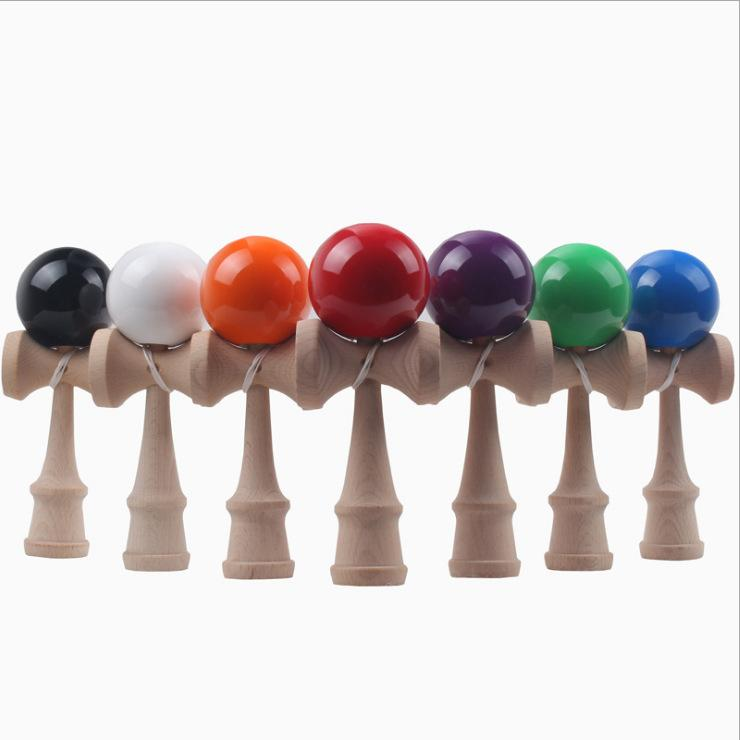 15 Colors 18CM Kendama Ball with PVC Box Packing Japanese Traditional Wooden Toys FedEx Free Shipping