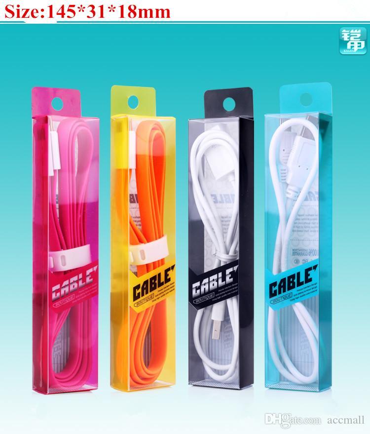 145 * 31 * 18mm Färgglada lyxiga PVC-plastpaket Förpackningsboxar för Samsung HTC Nokia Micro iPhone 6 5 1m 3FT USB-datakabel 200PCS
