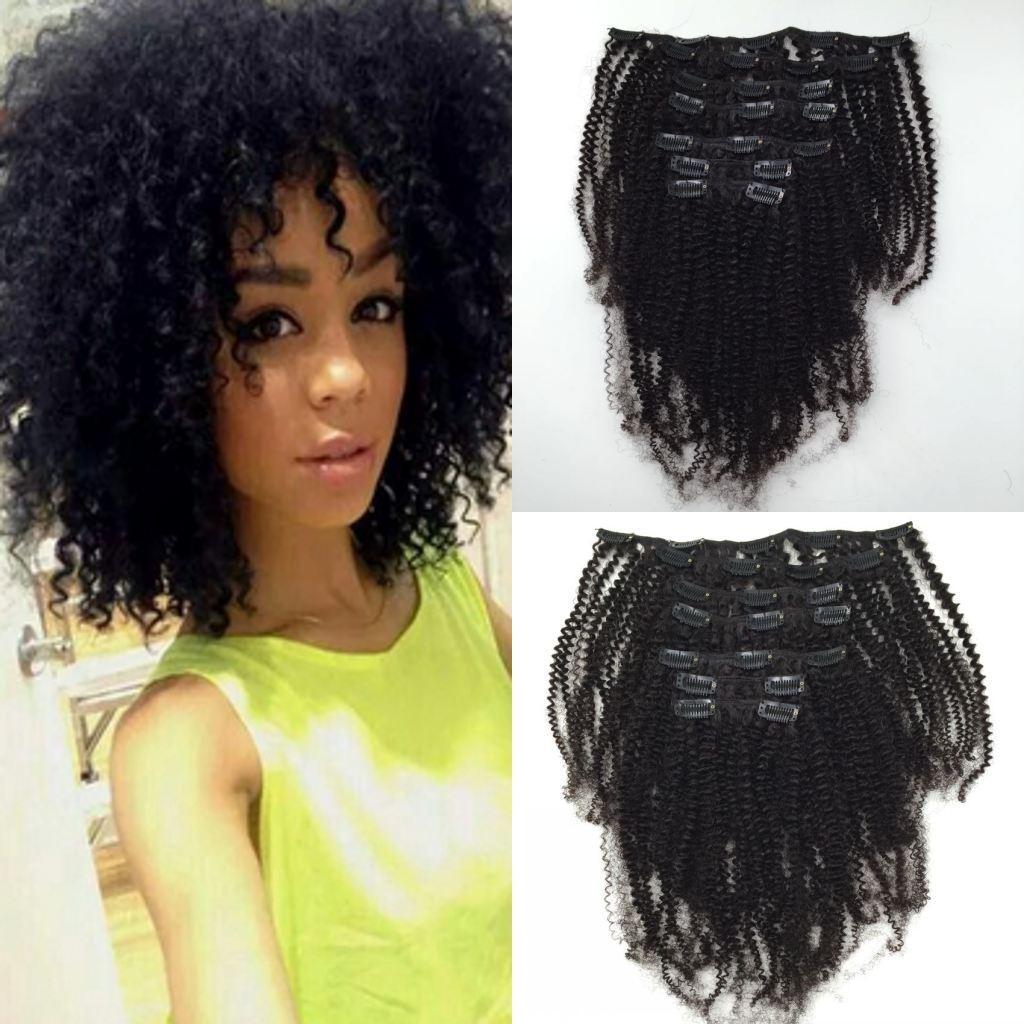 인간의 머리카락 확장에 몽골어 아프리카 킨 키 곱슬 클립 흑인 여성 클립 기능에 대 한 인간의 확장에 아프리카 계 미국인 클립
