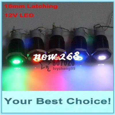 50pcs / lot 16mm 12V LED 조명 자동차 / 자동차 엔진 전원 래치 ON / OFF 검은 금속 푸시 버튼 스위치