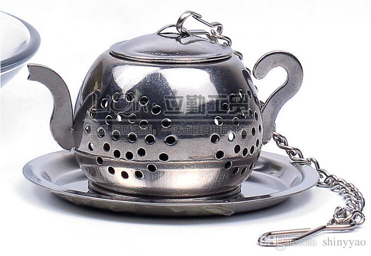 Frete Grátis - 200 pc / Lotes-Hot Selling Novel 304 Aço Inoxidável Bule de Chá Forma Infusor Coador