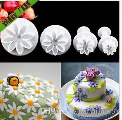DIY fondant cake decoration tools Mold 4 Pcs/set Cute Daisy Shape Plunger Cake Chocolate Sugar Mini Cutter TY1688