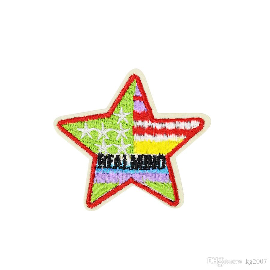 10PCS Multicolor-Sterne-Patches für Kleidung Taschen Eisen-on Transfer Applikationen Patch für Jacke Jeans nähen auf Stickerei-Abzeichen DIY