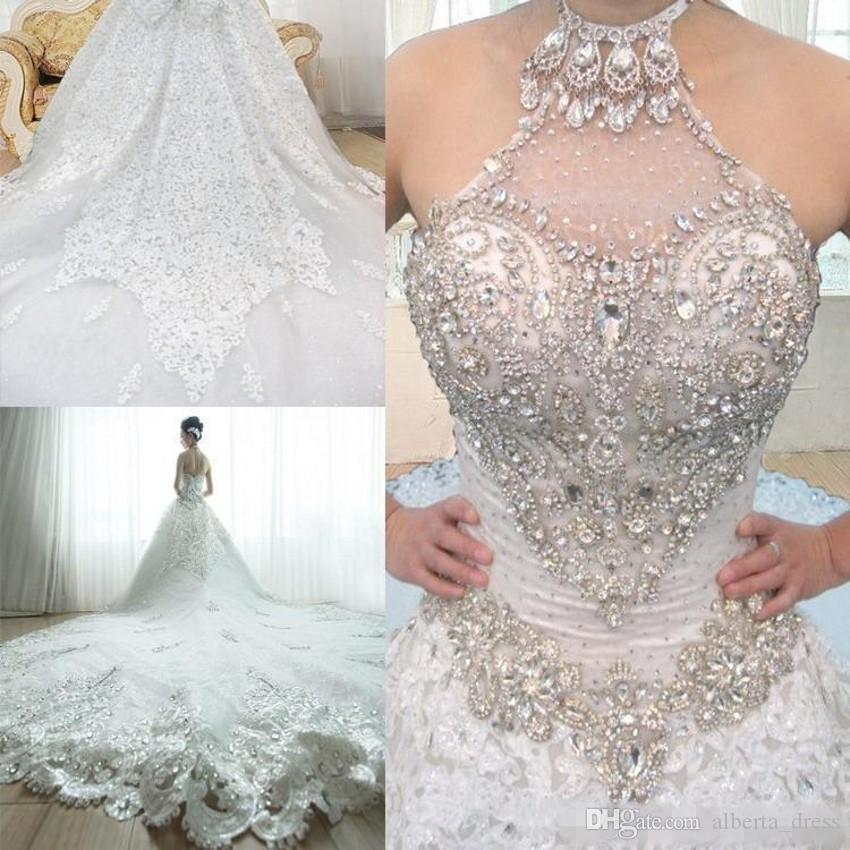 Neueste luxuriöse A-Linie Brautkleider High Neck Perlen Kristall Lace Up Back A Line Plus Size Kathedrale Zug Braut Brautkleider
