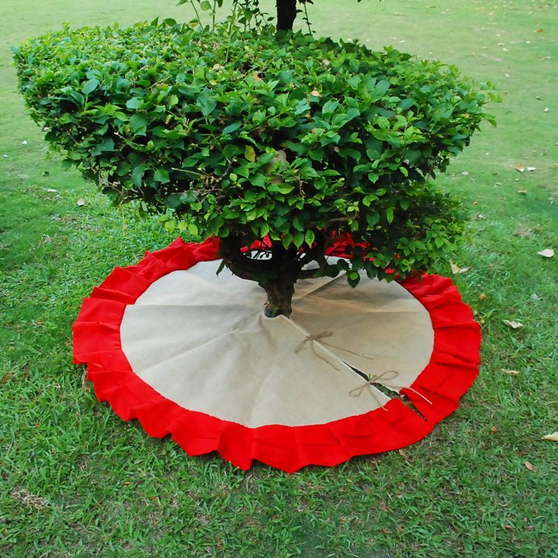 도매 블랭크 삼베 크리스마스 트리 스커트 Chistmas에 대한 프릴과 귀엽고 새로운 황마 나무 치마 장식 DOMIL106200