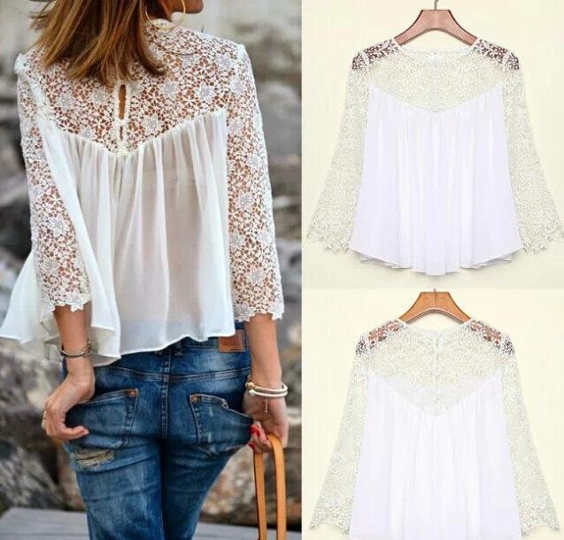 Women Blouse Puff Sleeved White Lace Long Sleeve Shirt Casual Loose Ruffle TopZB