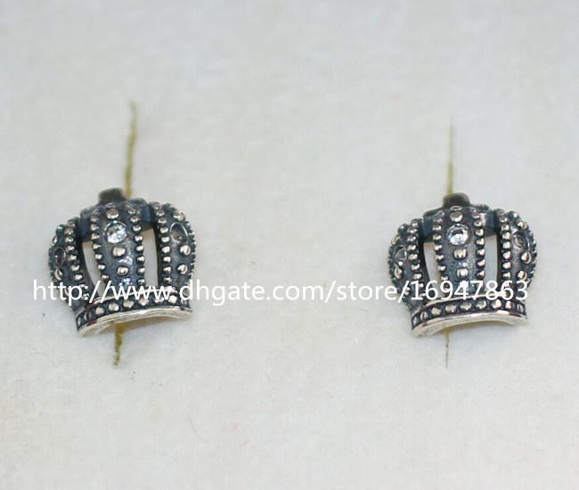 High-quality New 100% S925 Sterling Silver Stud Earrings European Pandora Style Jewelry Earrings Royal Crow with CZ Stud Earrings
