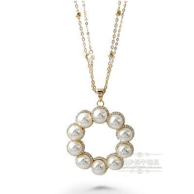 natural pearl cirlce pendant (4.5*4.5cm) lady's necklace (78+extra 6cm) (woniu152)