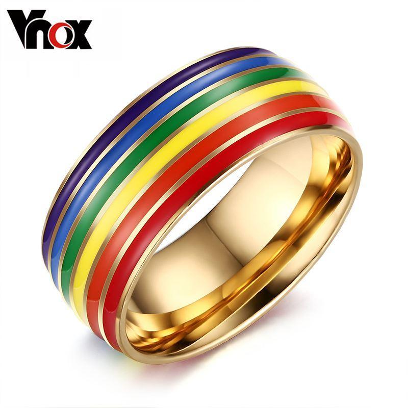 2016 Gay Orgulho Anéis de Noivado para As Mulheres e Homens Jóias Anéis De Casamento Em aço Inoxidável 8mm de Largura Anéis de Cor de Ouro Frete Grátis pa Natal