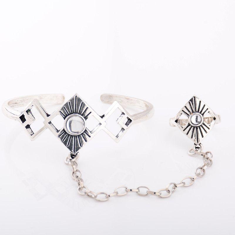 فاسق أزياء سبائك الفضة الكفة هندسية الإسورة الأساور الكريستال الرقيق للمجوهرات النساء