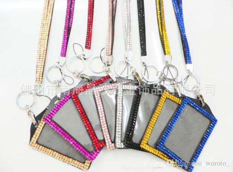 발톱 걸쇠를 가진 목에있는 ID 기장 홀더 Bling 방아 끈 수정 같은 모조 다이아몬드 일 카드를 가진 ID 기장 홀더