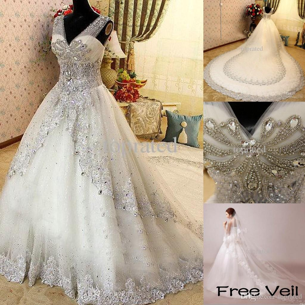 Luxe Crystal Zuhair Murad Trouwjurk Kant V-hals Sheer Band Bruidsjurken Kathedraal Trein met Petticoat
