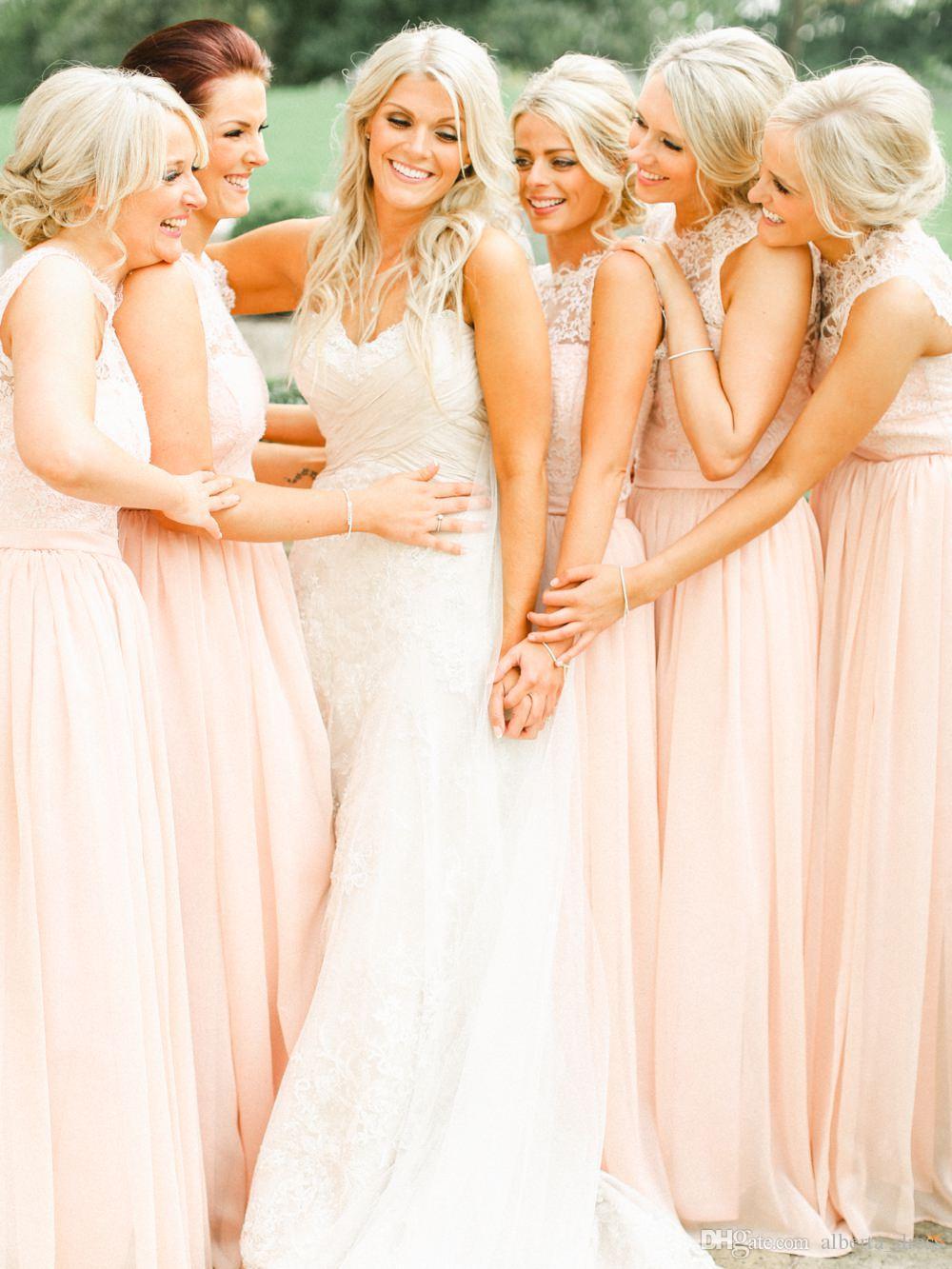 Bruidsmeisje Jurken Nieuwe Goedkope Juweel Hals Sheer Kant Chiffon Pink Long Voor Bruiloft Plus Size Long Beach Partyjurken Vestidos onder 100