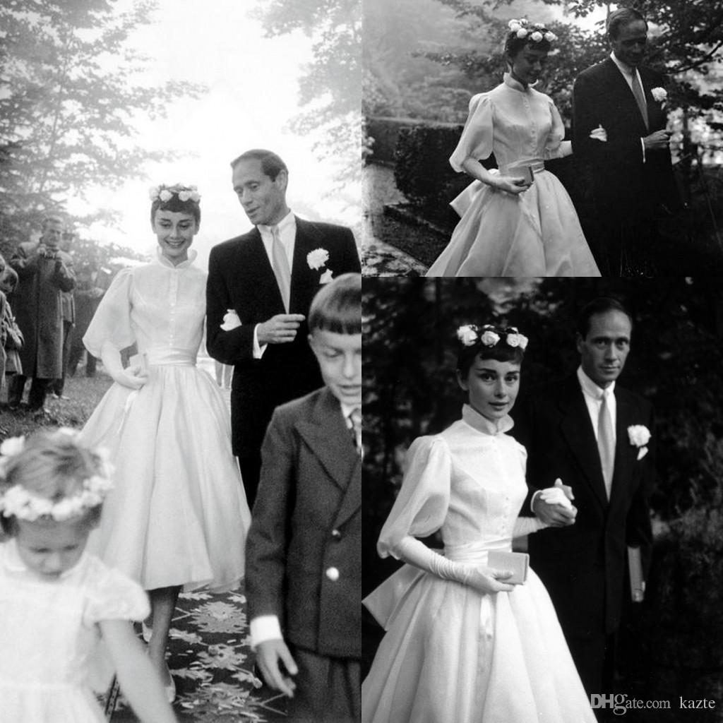 Discount Audrey Hepburn Wedding Dresses With Long Sleeve Vintage 1950s Tea Length High Neck Garden Princess Wedding Dress Cheap Custom Make Designer Wedding Dress Gowns Dresses From Kazte 124 13 Dhgate Com
