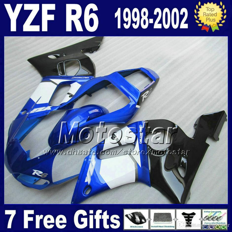 Nadwozie dla Yamaha YZF600 98-02 Biały Blue Black Fouring Kit YZFR6 YZF-R6 1998 1999 2000 2001 2002 WŁAŚCICENIA USTAWY YZF600 VB88