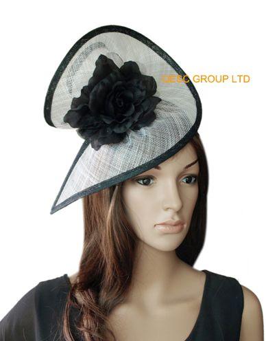 NEW BIG fascinator Fascino nuziale bianco / nero con cappello sinamay in forma SPECIALE con fiore di seta, per la sposa Kentucky Derby
