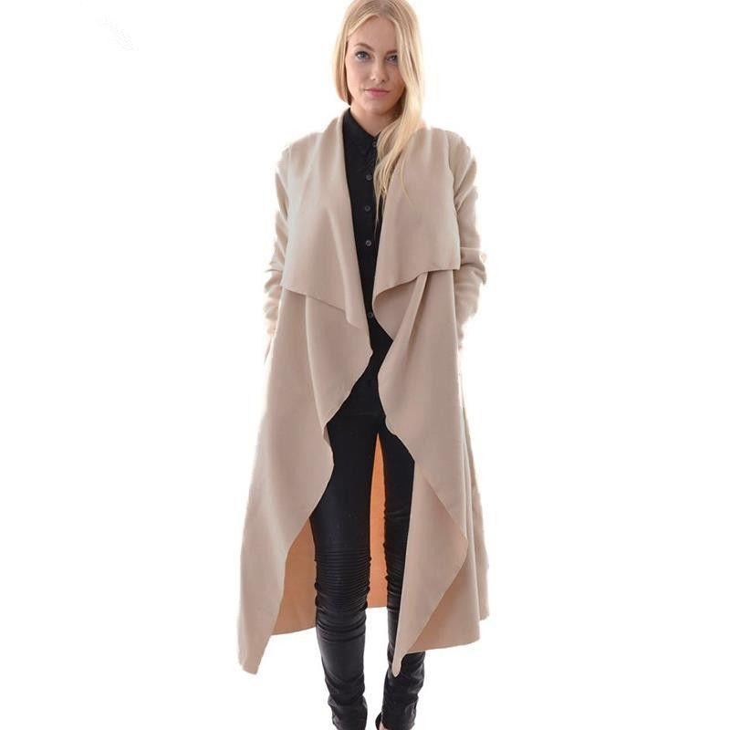 2019 Women Poncho Cape Waterfall Coats Plus Size Windbreaker Jacket Lapel  Fashion Slim Long Windbreaker Long Sleeve Fallaway Trench None From ...