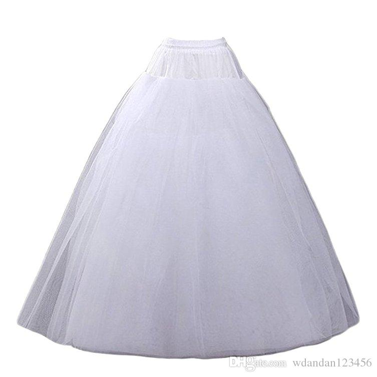 2017 New Women's White A-line Hoopless Petticoat Crinoline Underskirt Slips Wedding Accessories Floor Length Not custom Free shipping 0222