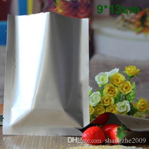 """9*13 см (3.5 * 5.1"""") чистая алюминиевая фольга сумка с открытым верхом Серебряный майлар упаковка Термосваривание вакуумная упаковка для хранения пищевых продуктов для закусочного сахарного чая"""