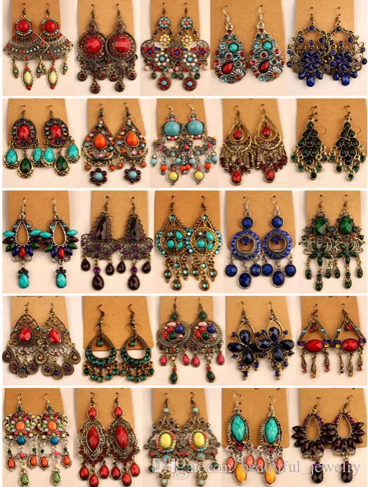 2018 vendas quentes tibetano Vintage Prata / Bronze Resina Gem brincos de diamante jóias de estilo Bohemia misturado 25 Estilo 25Pairs / lot