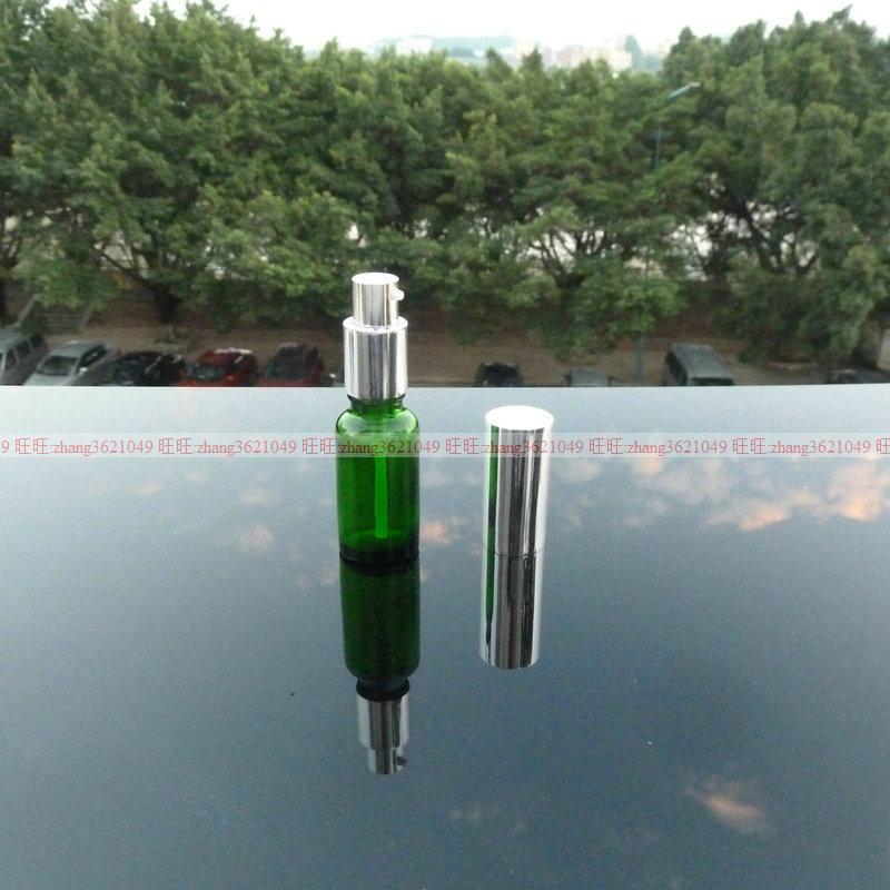 20ml 녹색 유리 로션 병 알루미늄 반짝 이는 실버 pump.for 로션과 에센셜 오일. 로션 용기