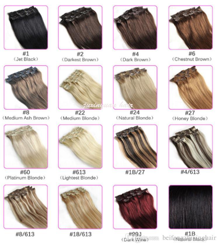 7a-120 جرام / قطعة 8 قطعة / مجموعة 100٪ الشعر البشري الحقيقي / مقاطع الشعر البرازيلي في ملحقات الحقيقي مستقيم كامل رئيس جودة