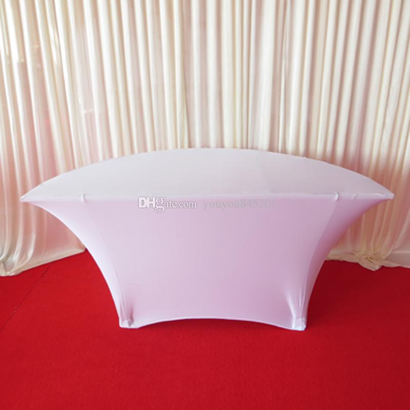 New Arrival Product: Half Moon Style White Color 5FT Round*29'' H Table Cloth With Free Shipping