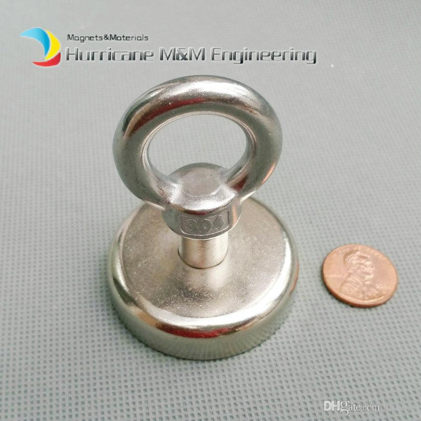 20pcs 130LBS Pulling Mounting Magnet Diameter 48mm Magnetic Pots with Hook Lifting Strong Magnet Neodymium Permanent Magnets NiCuNi