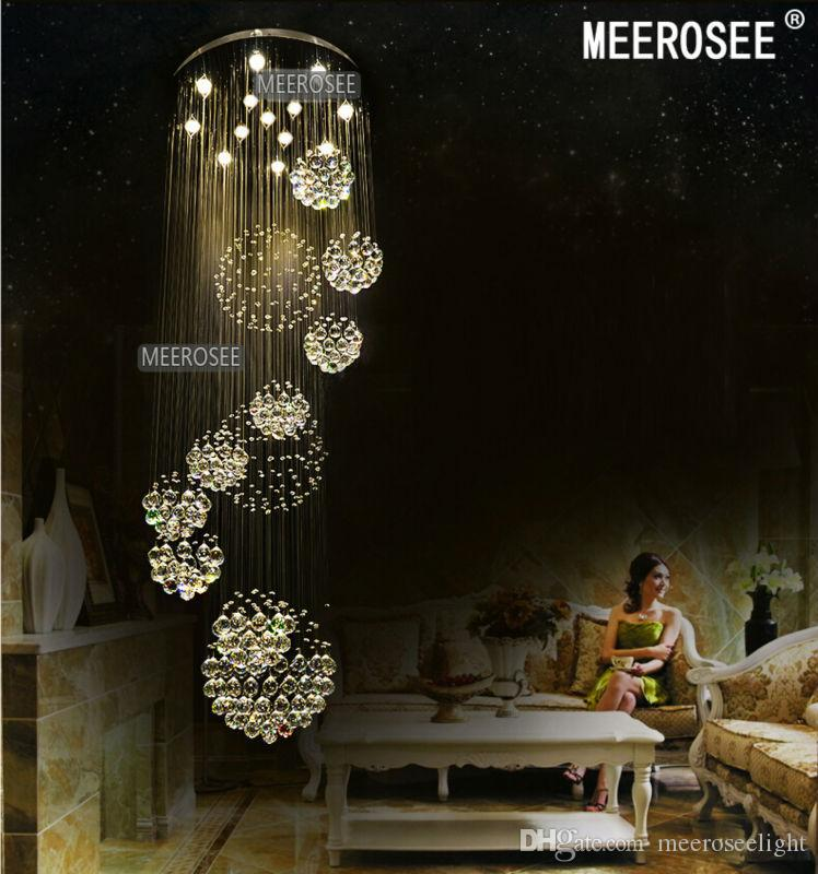 Modern Large Crystal Ceiling Light Fixture for Lobby, staircase, stairs, foyer Long spiral Crystal Light lustre ceiling lamp
