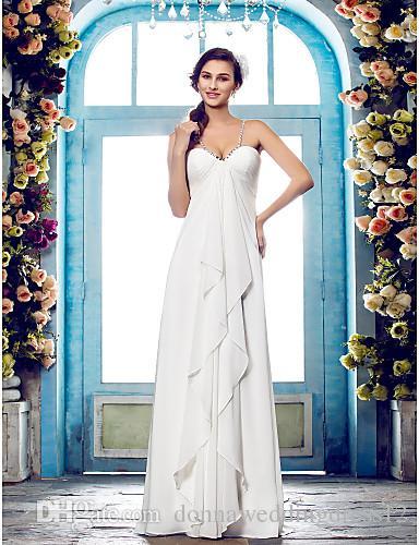 2016 Nova Moda Popular Frete Grátis Marfim Chão-comprimento Cintas de Espaguete Beads Chiffon Bainha Glamorous Wedding Dresses 190
