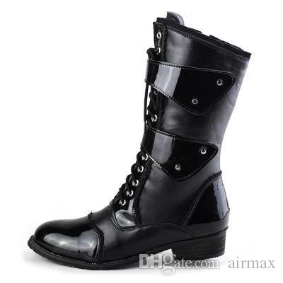 Nuovo design moda marea metà stivali a metà per gli uomini allacciati con fibbia stivale da moto uomo vestirsi in pelle PU stivali da cowboy Martin 38-45