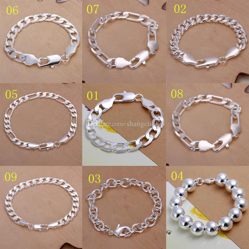 Promotion! Multi Styles Of Fashion Bracelet Men's\Boys' 925 Sterling Silver Jewelry Curb\Figaro Chains 9pcs/lot