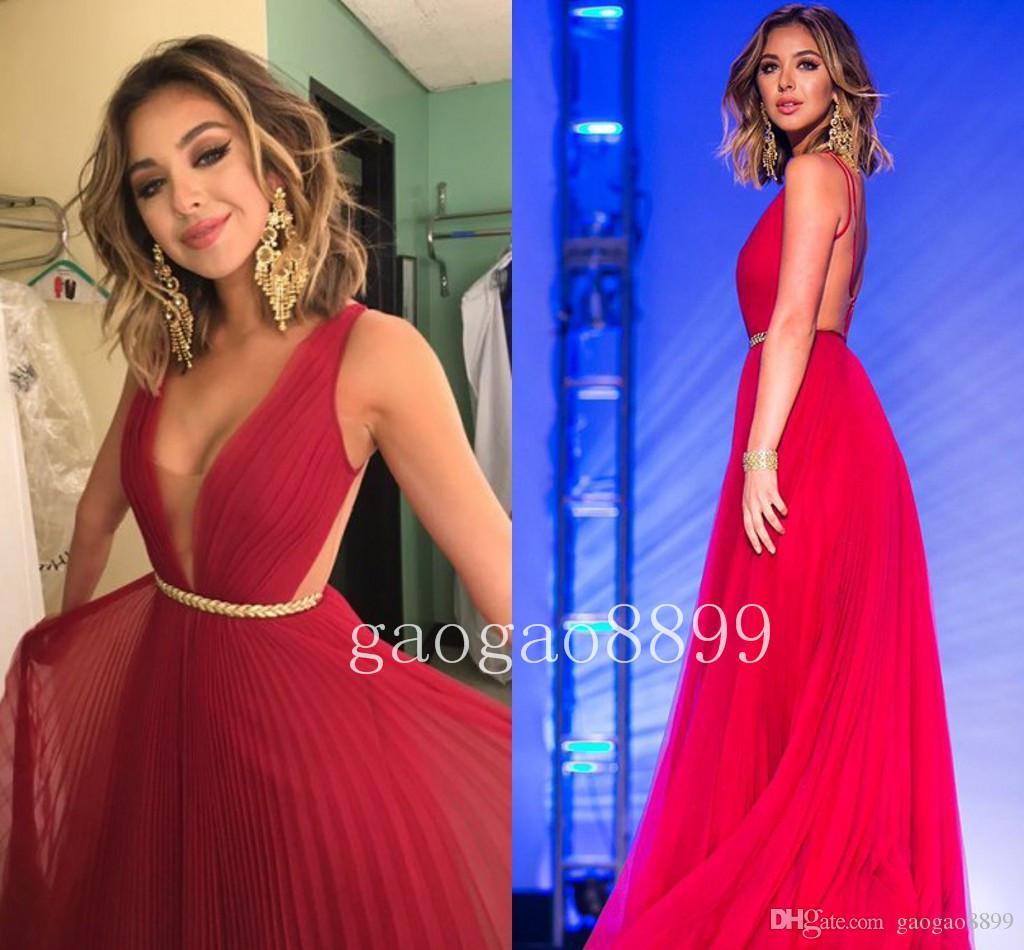 Sexy bateau vloer lengte chiffon geplooid backless rode prom jurk 2019 custom maken plus size strand party speciale gelegenheid jurken