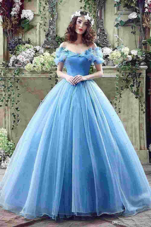 2016 Designer Cinderella Princess Quinceanera Dresses Sky Blue Tulle ...